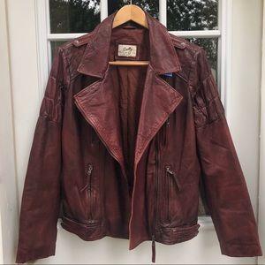 Vintage Scully Leather Moto Jacket- Burgundy Brown
